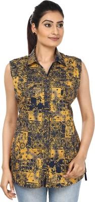 Fashion Cult Women's Printed Casual Yellow Shirt