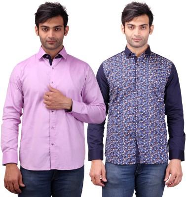 Clubstone Men's Solid Formal Purple, Blue Shirt