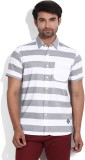 Lee Men's Striped Casual White, Grey Shi...