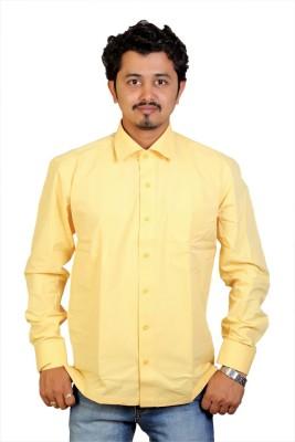 Egoist Men's Solid Formal Yellow Shirt