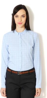 Van Heusen Women's Checkered Formal Blue Shirt