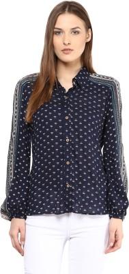 Taurus Women's Printed Casual Blue Shirt
