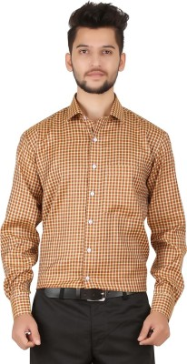 Stylo Shirt Men's Checkered Casual Gold Shirt