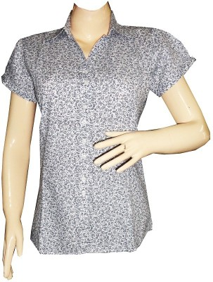 Dream Fashion Women's Printed Casual White Shirt