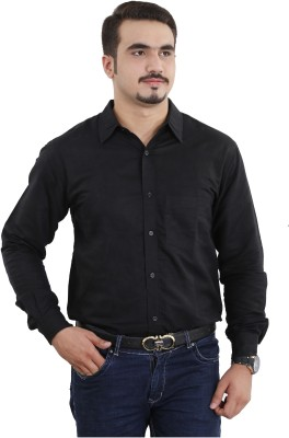 Fashion N Style Men's Solid Formal Linen Black Shirt
