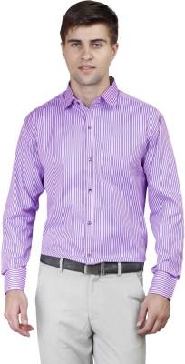 Alive Sport Men's Striped Formal Purple Shirt