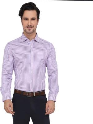 Devaa Men's Striped Casual Pink, Blue Shirt