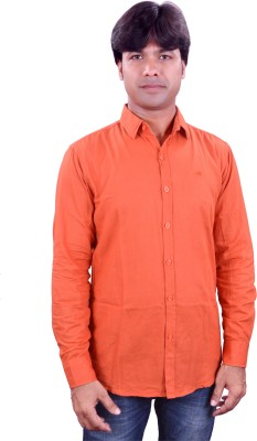 Henry Club Men's Solid Casual Orange Shirt