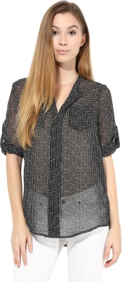 TheGudLook Women,s Printed Casual Black Shirt