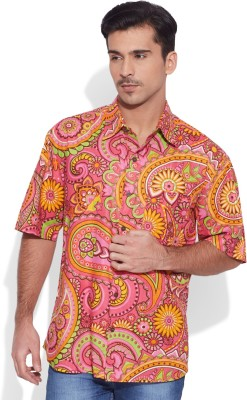 Very Me Men's Floral Print Casual Pink Shirt
