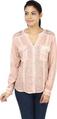 India Inc Women's Self Design Casual Beige Shirt