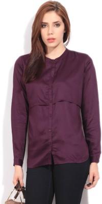 Arrow Women's Solid Formal Purple Shirt