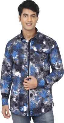 Swiss Culture Men's Printed Casual Dark Blue, Grey Shirt