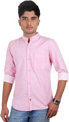 Einstein Men's Solid Casual Pink Shirt