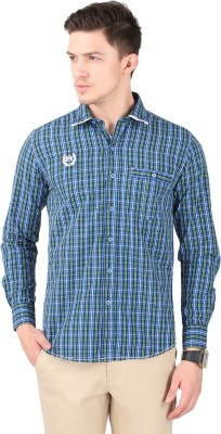 Cotton County Men's Checkered Casual Blue Shirt