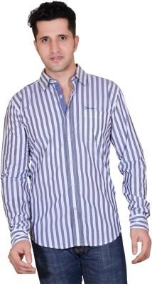 Denimize Men's Striped Casual White Shirt