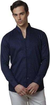 Lisova Men's Printed Formal Dark Blue Shirt
