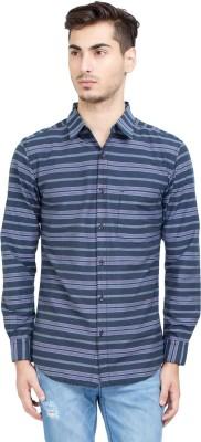 Riot Jeans Men's Striped Casual Purple Shirt