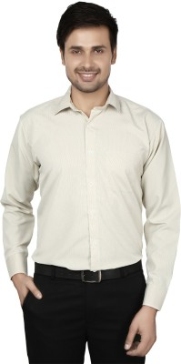 Hd Rascals Men's Striped Formal Green Shirt