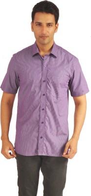 Sterling Men's Striped Formal Purple Shirt