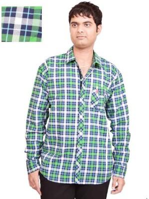 British Terminal Men's Checkered Casual Green Shirt