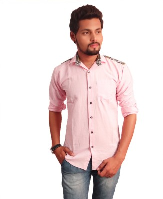 La Milano Mens Solid Casual Pink Shirt