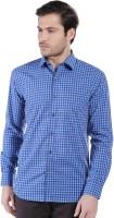 Oxemberg Formal Shirts (Men's) - Oxemberg Men's Checkered Formal Blue Shirt