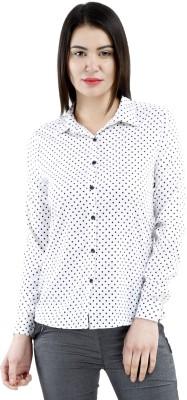 Belly Bottom Women's Polka Print Formal White Shirt