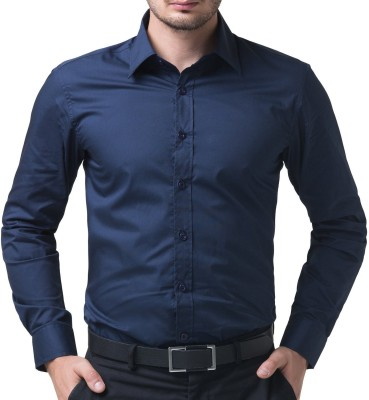 You Forever Men's Solid Formal Blue Shirt