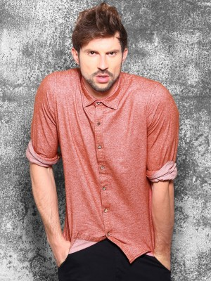 WROGN Men's Solid Casual Red Shirt