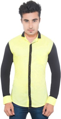 Goodkarma Men's Self Design Casual Yellow, Black Shirt