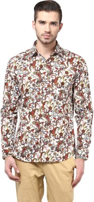 Invern Men's Floral Print Casual White, Yellow Shirt