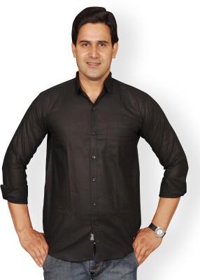 Mc-John Men's Solid Formal Black Shirt