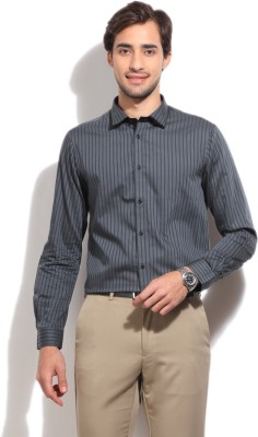 Arrow New York Men's Striped Casual Grey Shirt