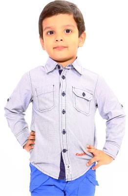 Bio Kid Boy's Solid Casual Grey Shirt