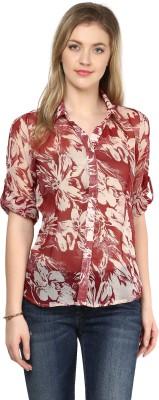 LY2 Women's Printed Casual Maroon Shirt