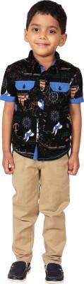 I-Voc Boy's Printed Casual Black, Blue Shirt