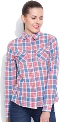 Vaak Women's Checkered Casual Orange Shirt