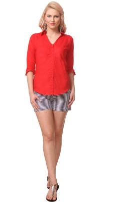 Meee Women,s Solid Casual Red Shirt