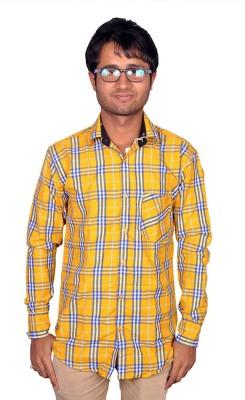 Royal Fashion Men's Checkered Festive Yellow Shirt