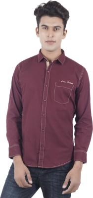 Eden Elliot Men's Solid Casual Maroon Shirt