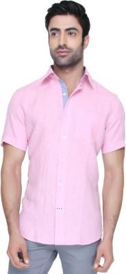 Jadeblue Men's Solid Casual Linen Pink Shirt
