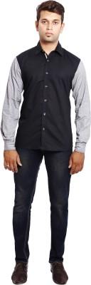 Verve Men's Self Design Casual Black, Grey Shirt