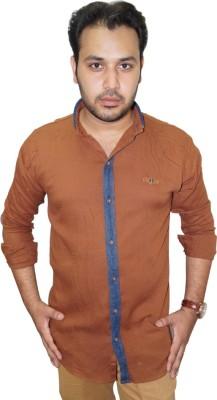 Ali Darzi Men's Graphic Print Casual Brown, Blue Shirt