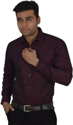 Studio Nexx Men's Polka Print Formal Maroon Shirt