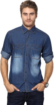 The Vanca Men's Solid Casual Denim Blue Shirt