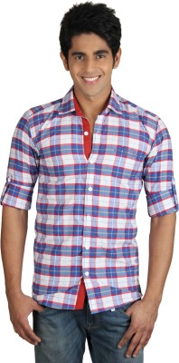 Nexq Men's Checkered Casual Blue, Red Shirt