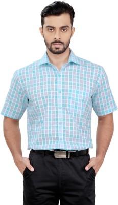 Zeal Men's Checkered Formal Light Blue, Grey Shirt
