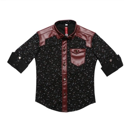 DL EMPORIUM Boy's Printed Casual Black Shirt