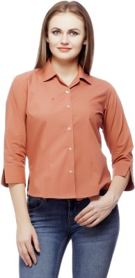 Abida Women's Solid Casual Orange Shirt